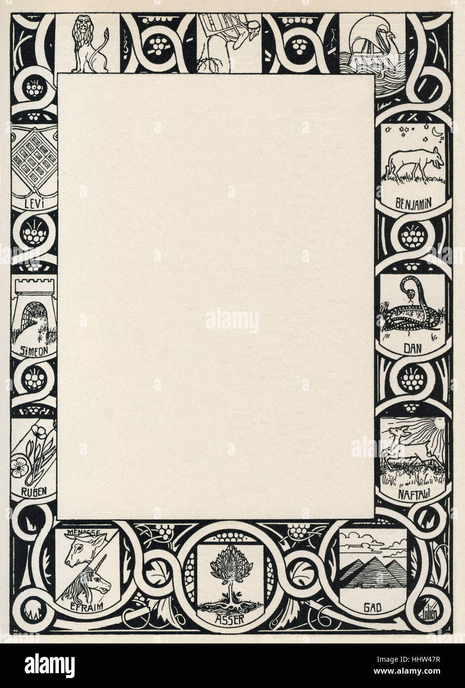 Ephraim Moses Lilien surround / decorative border showing the  symbols of the 12 tribes of Israel.  b. 1874 (Galicia) Stock Photo