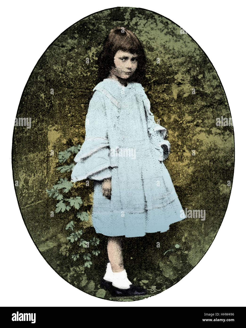 Alice Liddell  -  taken by Lewis Carroll, 1858.  Inspiration for Carroll 's novel Alice in Wonderland.      - Stock Image