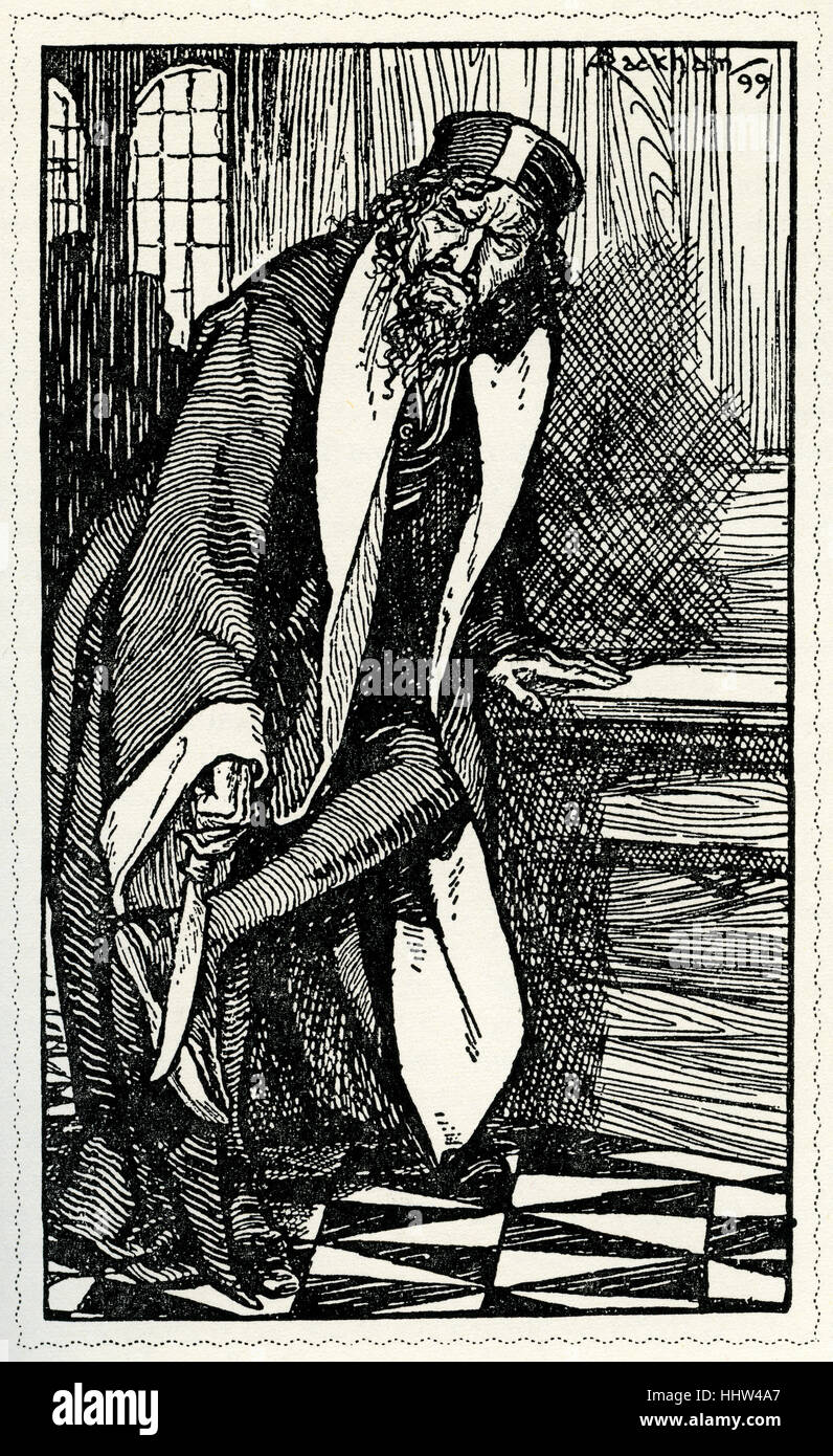The Merchant of Venice  by William Shakespeare.  Illustration by Arthur Rackham (1867 - 1939) .   Shylock was sharpening - Stock Image