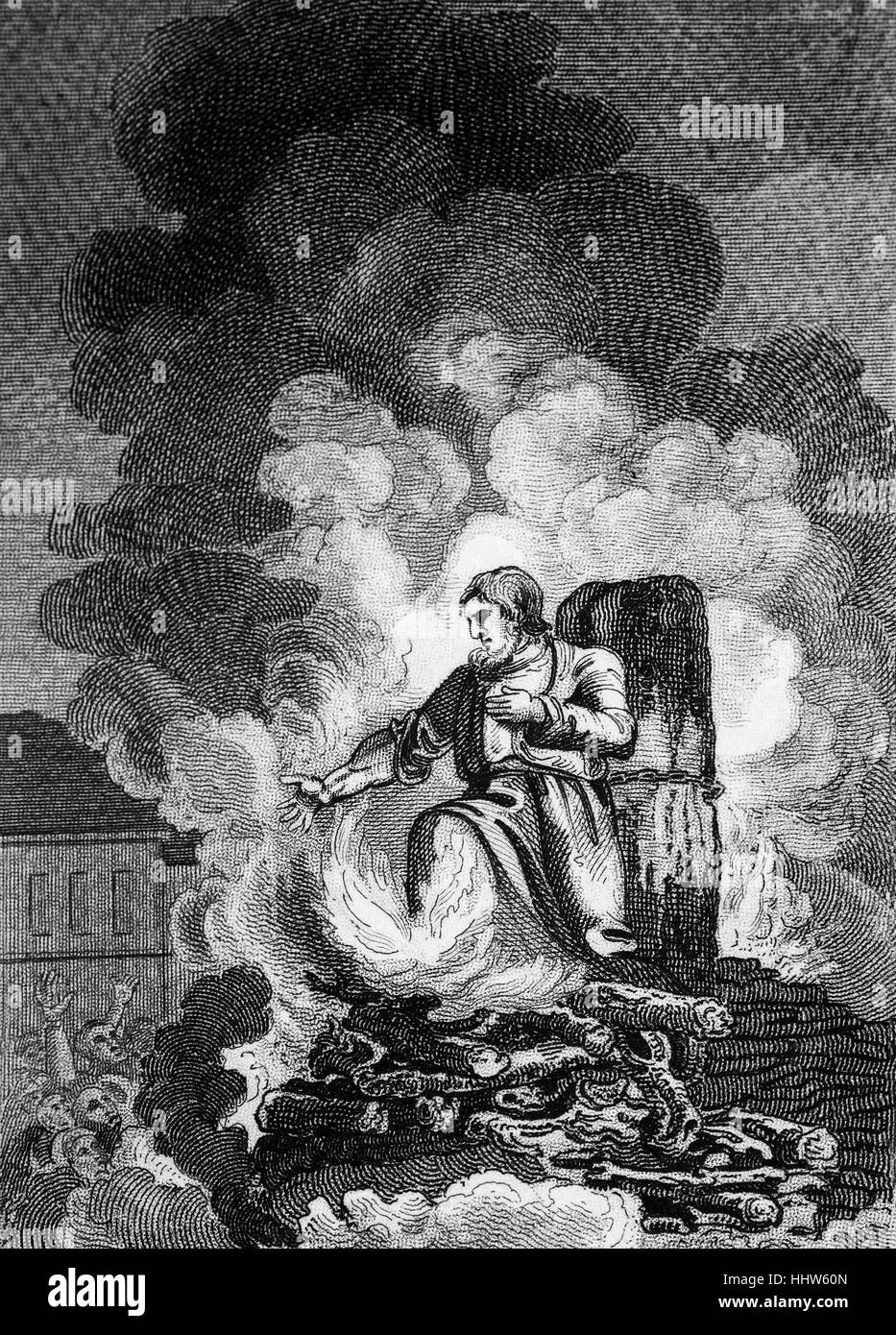 A protestant clergyman burning at the stake in Smithfield, London, during the Marian Persecution when nearly three - Stock Image