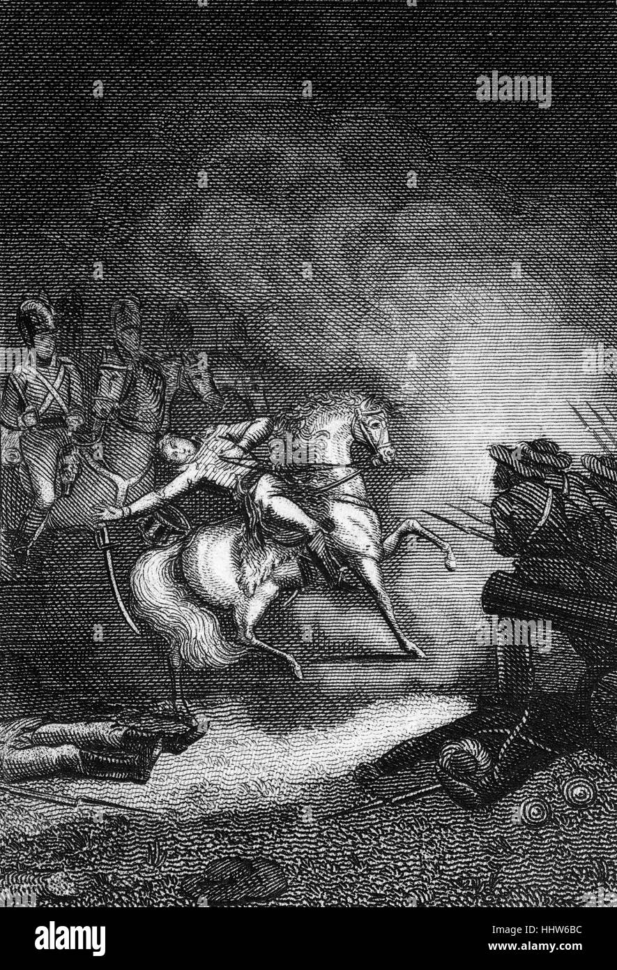 The death of Colonel Maxwell. Research indicates it was at the Battle of Flodden or Flodden Field, part of a conflict - Stock Image