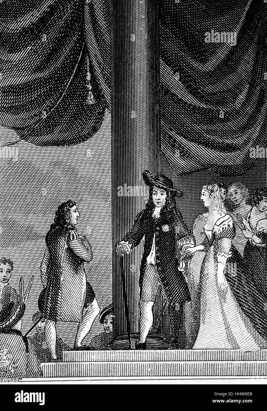 The introduction of Lady Mary(1631 – 1660), the eldest daughter of King Charles I to Prince William II. The marriage took place on 2 May 1641 at the Chapel Royal in London but was reputedly not consummated for several years because the bride was only nine years old. Stock Photo