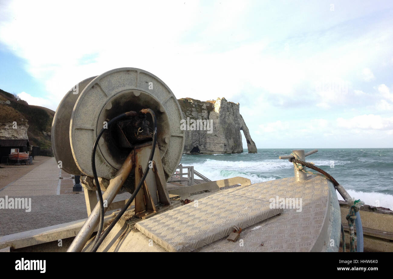 Pulling equipment near Falaise d'Etretat in Etretat, Normandy, France Stock Photo