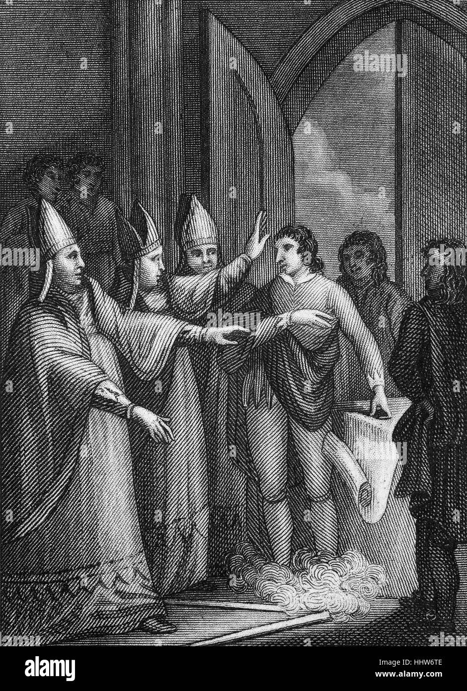 Magna Carta, or 'The Great Charter', was originally issued by King John of England as a solution to the political - Stock Image