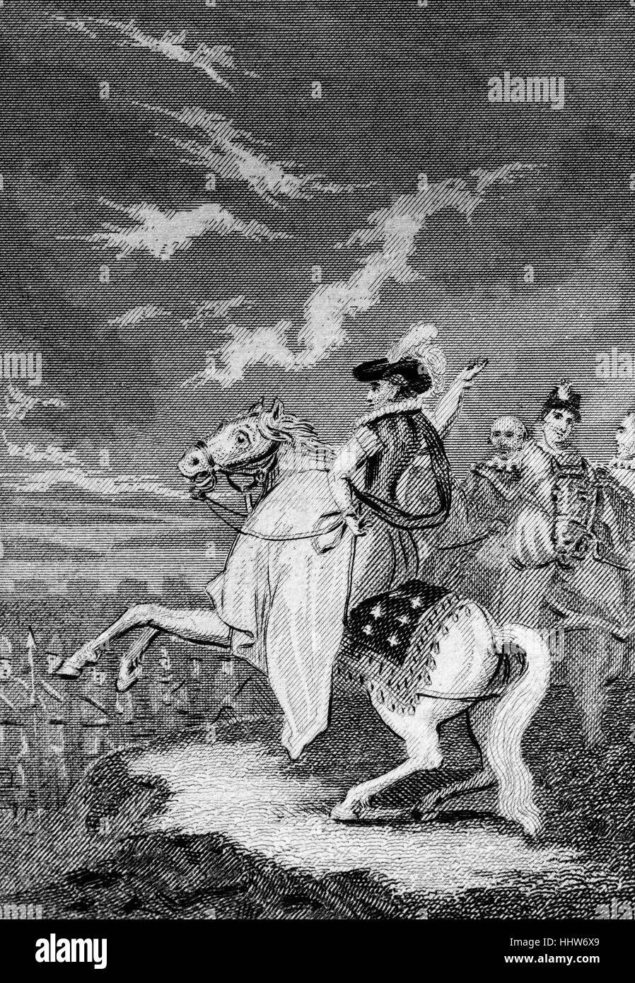 Elizabeth I (1533 – 1603) making a speech to the land forces earlier assembled at Tilbury in Essex in preparation - Stock Image