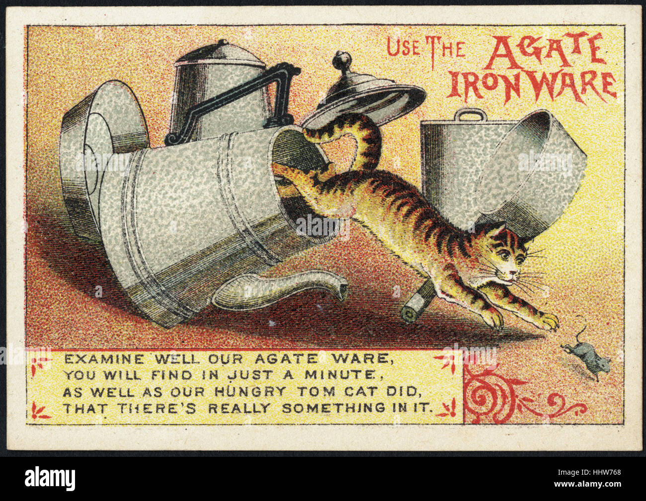Use the Agate ironware. Examine well our Agate ware, you will find in just a minute, as well as our hungry tom cat - Stock Image