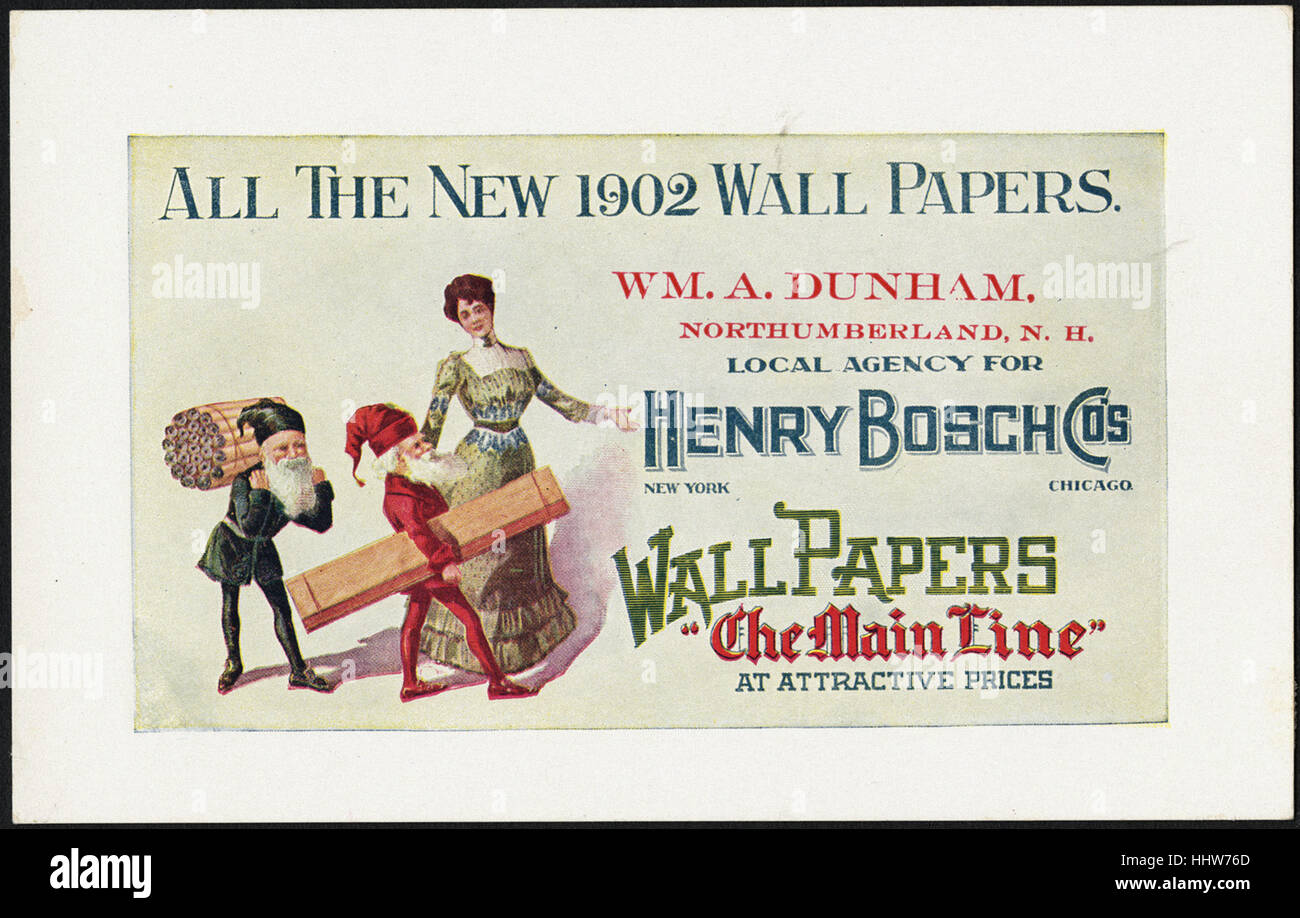 All the new 1902 wall papers. (front)  - Home Furnishings Trade Cards - Stock Image