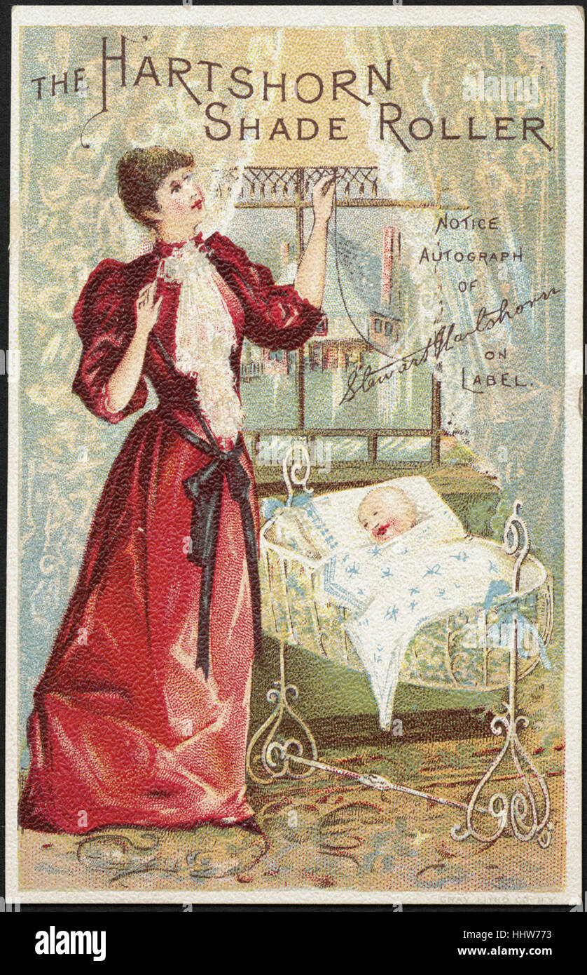 The Hartshorn shade roller - notice autograph of Stewart Hartshorn on label. (front)  - Home Furnishings Trade Cards - Stock Image
