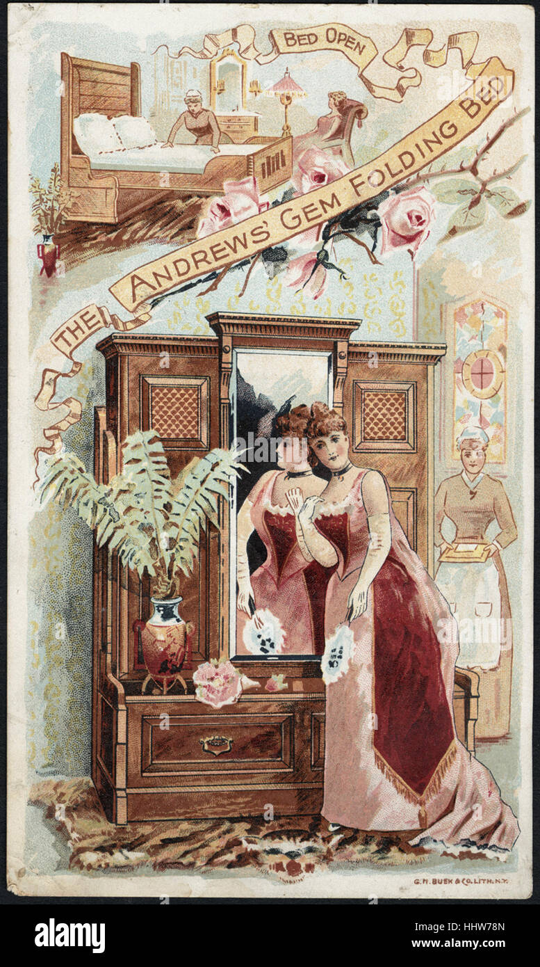 The Andrews' Gem Folding Bed (front)  - Home Furnishings Trade Cards - Stock Image