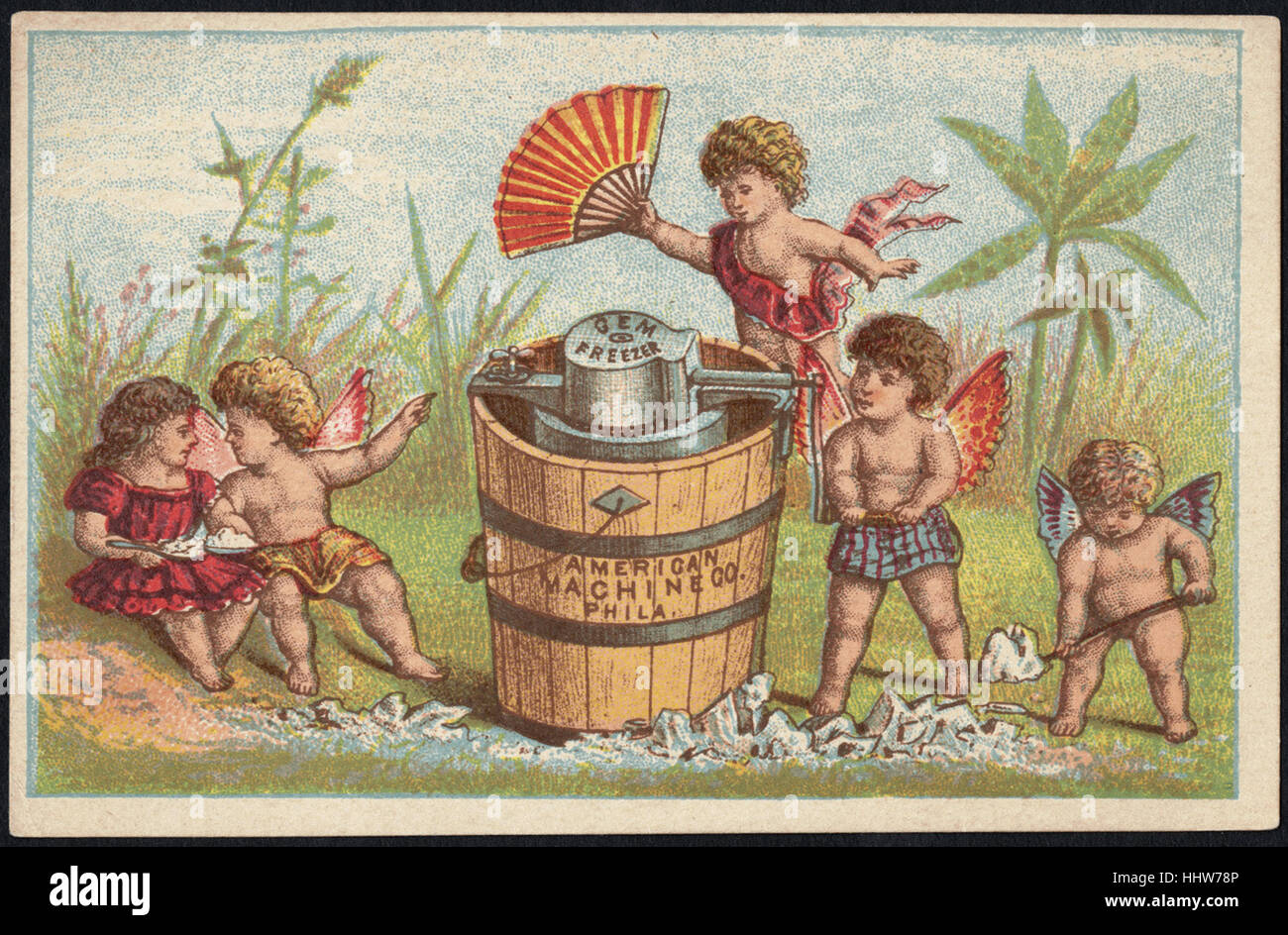 American Machine Co., Phila. The Gem Ice Cream Freezer. (front)  - Home Furnishings Trade Cards - Stock Image