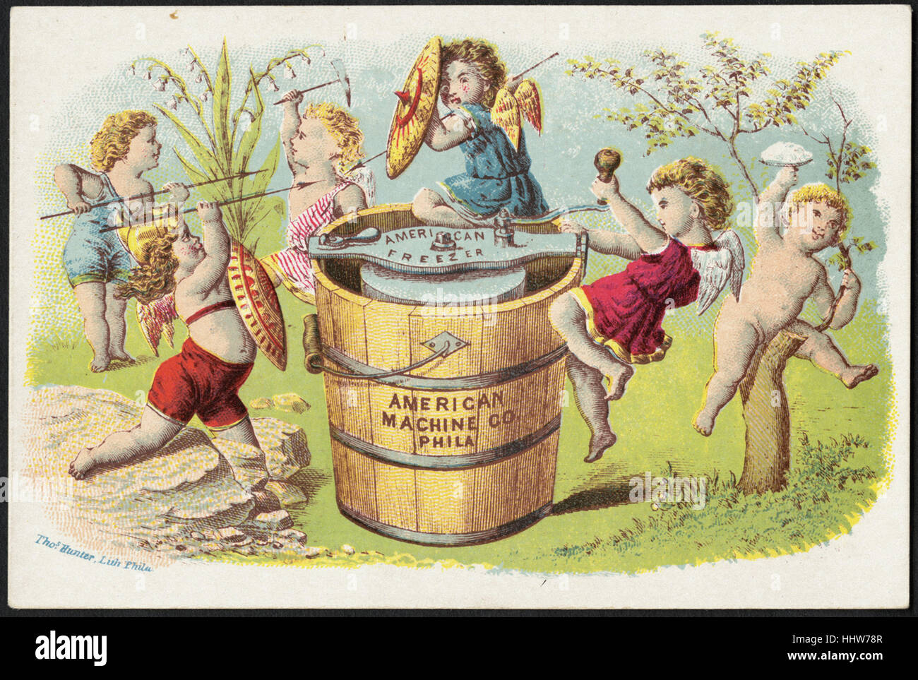 American Machine Co., Phila. (front)  - Home Furnishings Trade Cards - Stock Image