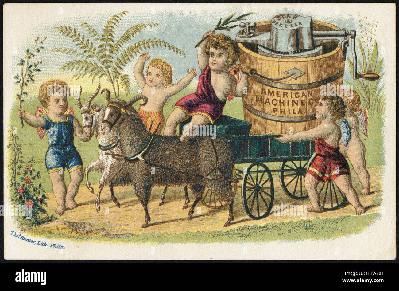 American Machine Co., Phila. The Star Ice Cream Freezer' (front)  - Home Furnishings Trade Cards - Stock Image