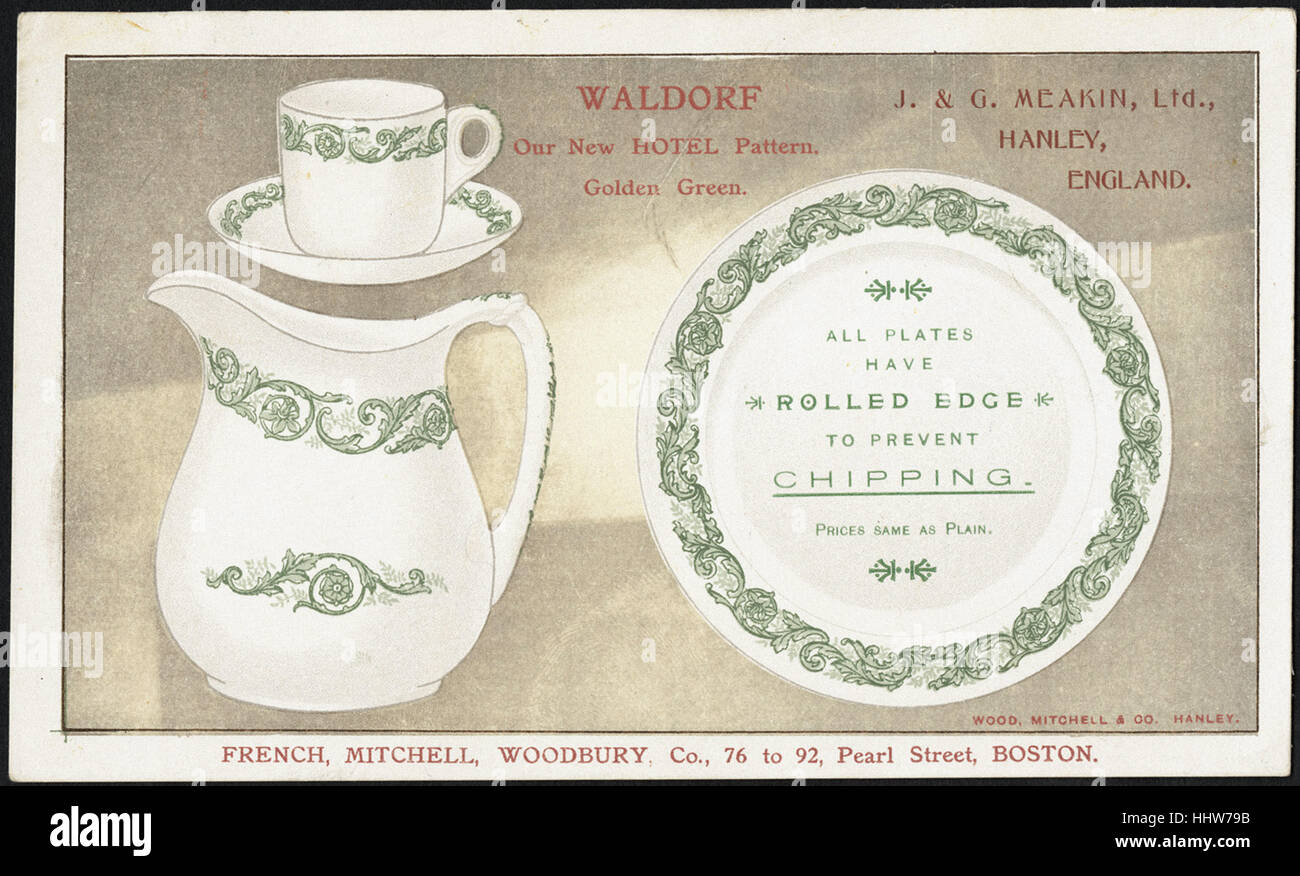 Waldorf. Our new hotel pattern, golden green. J. & G. Meakin, Ltd., Hanley, England. (front)  - Home Furnishings - Stock Image