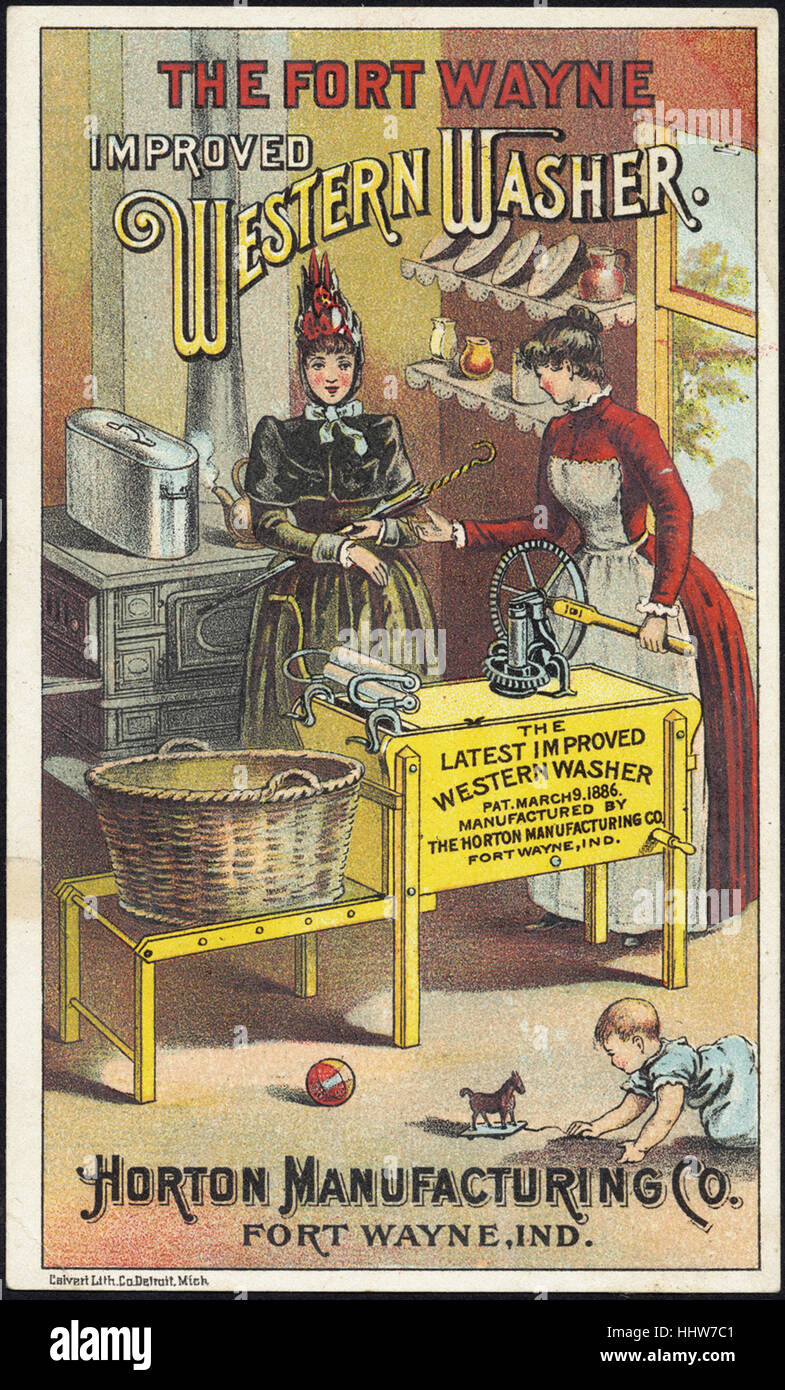 The Fort Wayne improved western washer - the latest improved western washer [front]  - Laundry Trade Cards - Stock Image