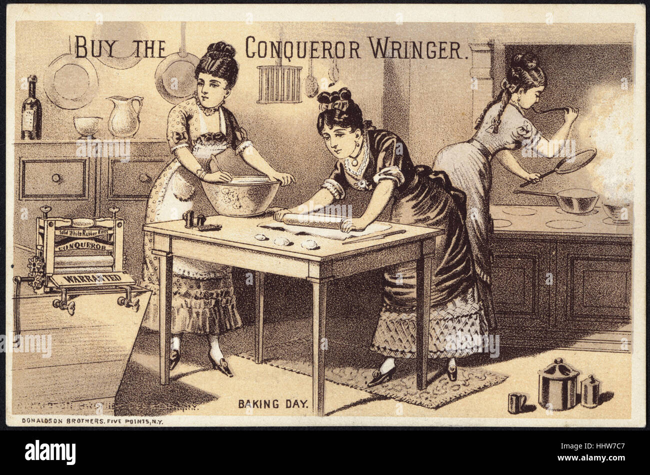 Buy the Conqueror Wringer. Baking day. [front]  - Laundry Trade Cards - Stock Image