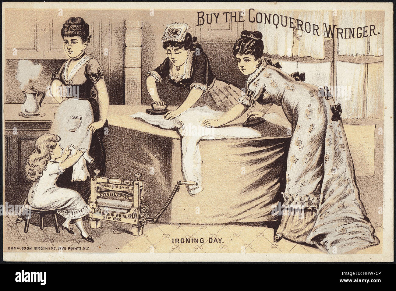 Buy the Conqueror Wringer. Ironing day. [front]  - Laundry Trade Cards - Stock Image