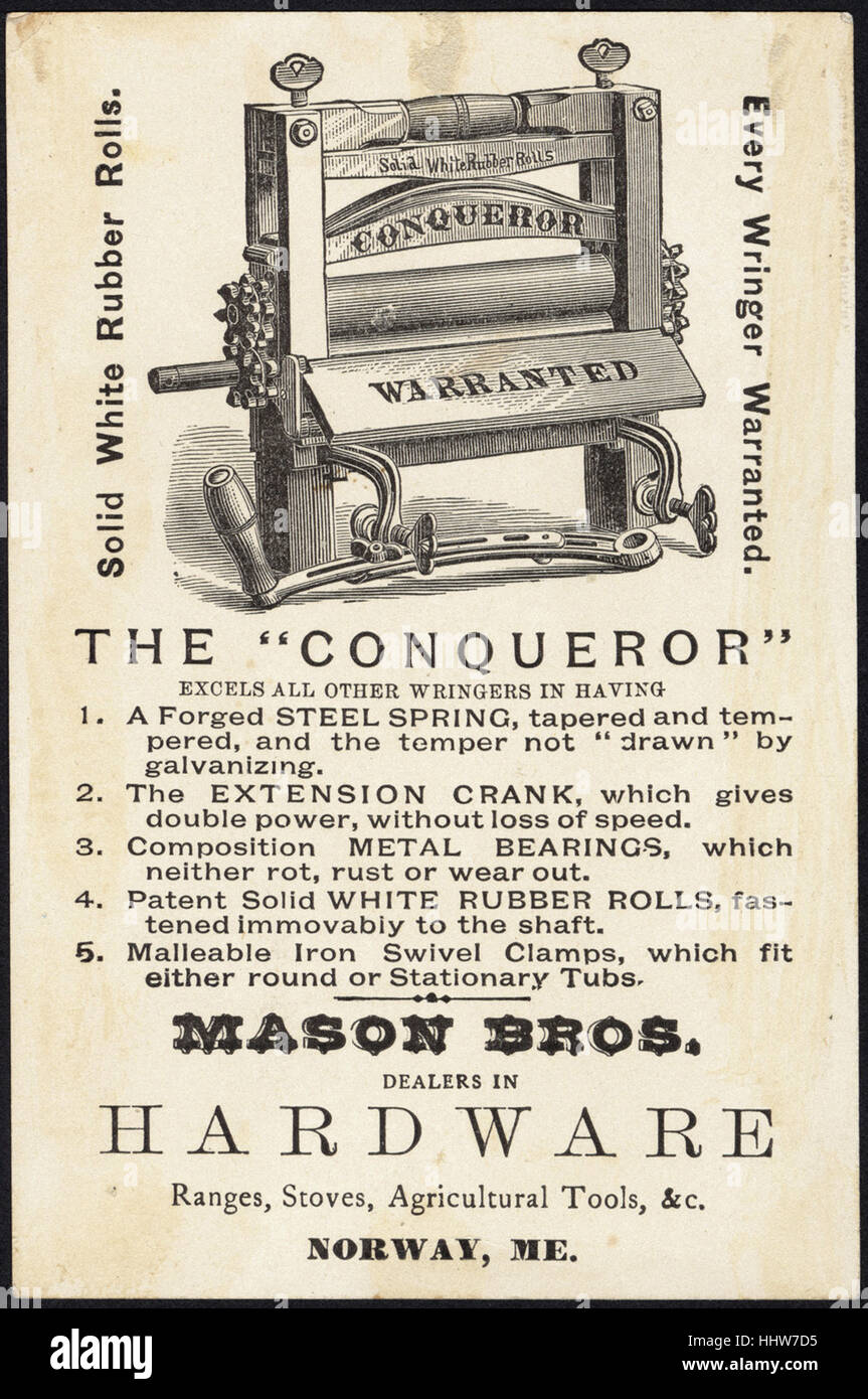 Buy the Conqueror Wringer. Baking day. [back]  - Laundry Trade Cards - Stock Image