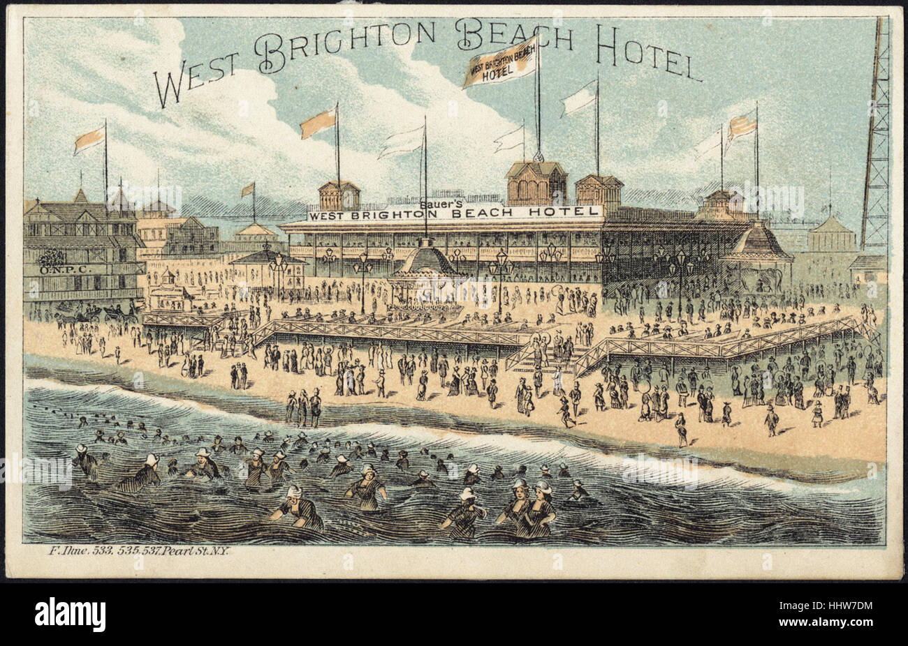 West Brighton Beach Hotel [front]  - Leisure, Reading, and Travel Trade Cards Stock Photo