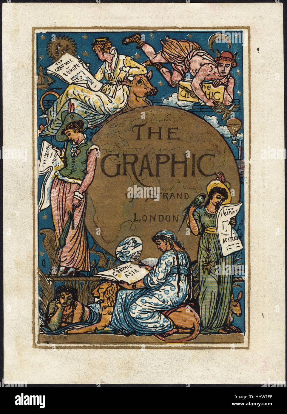 The Graphic, 190 Strand London [front]  - Leisure, Reading, and Travel Trade Cards - Stock Image