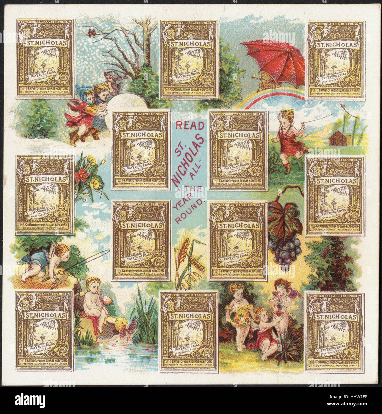 Read St. Nicholas all the year round. [front]  - Leisure, Reading, and Travel Trade Cards - Stock Image