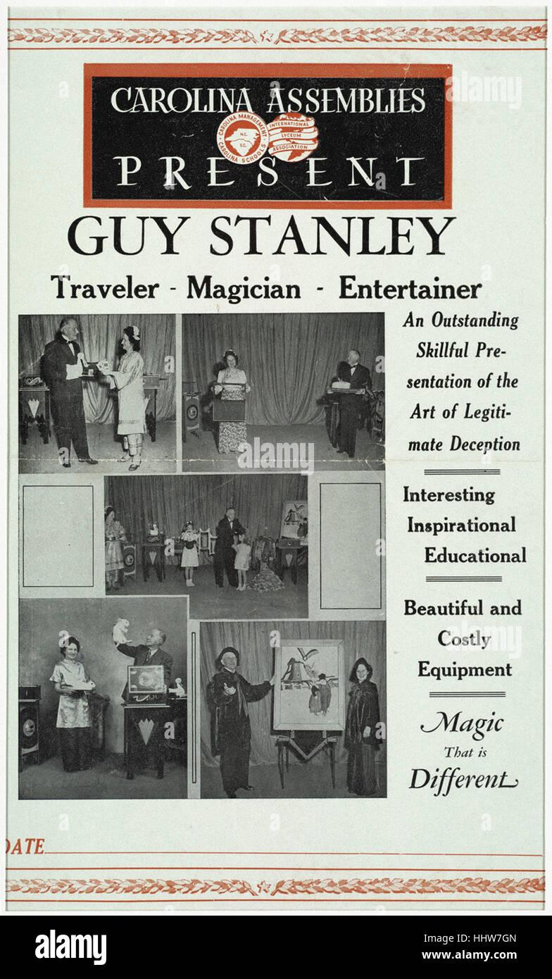 Carolina Assemblies present Guy Stanley _ Traveler - magician - entertainer  - Magic Posters - Stock Image