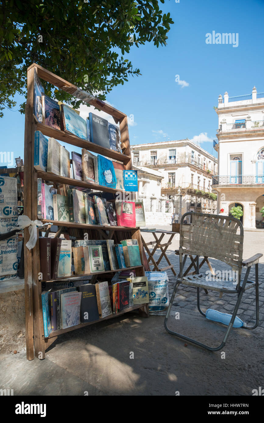Secondhand book stall in  Plaza de Armas Havana Cuba - Stock Image