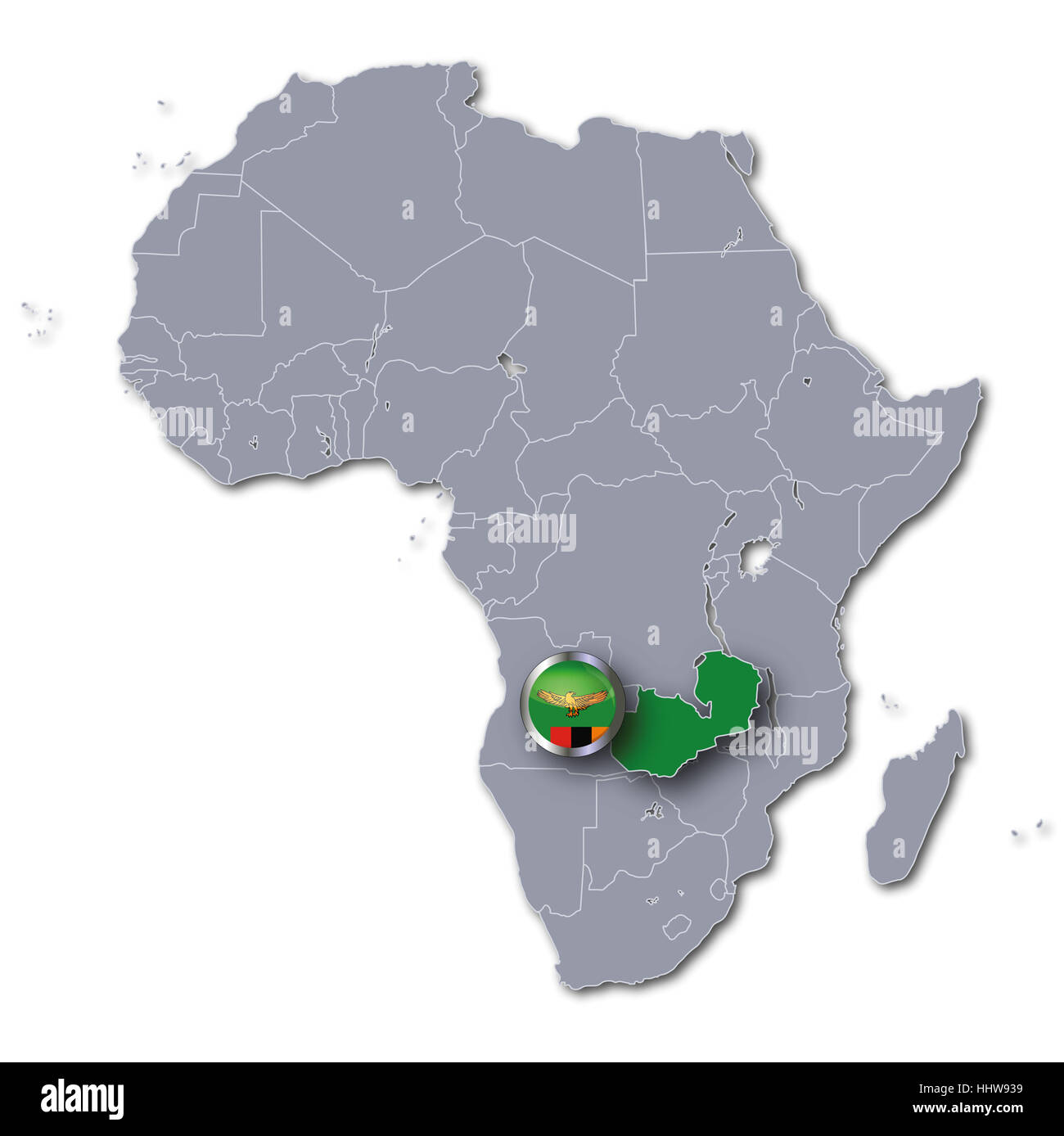 Zambia Map Of Africa.African Map Of Zambia Stock Photo 131477677 Alamy