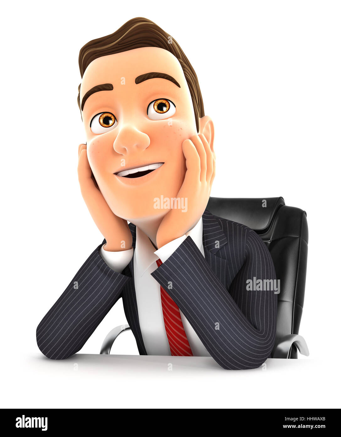 3d businessman at office daydreaming, illustration with isolated white background Stock Photo
