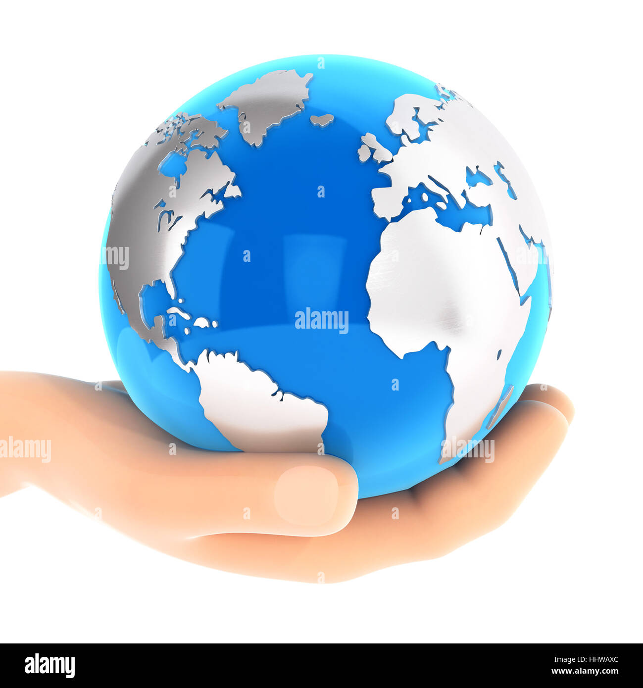 3d hand holding blue earth, illustration with isolated white background Stock Photo