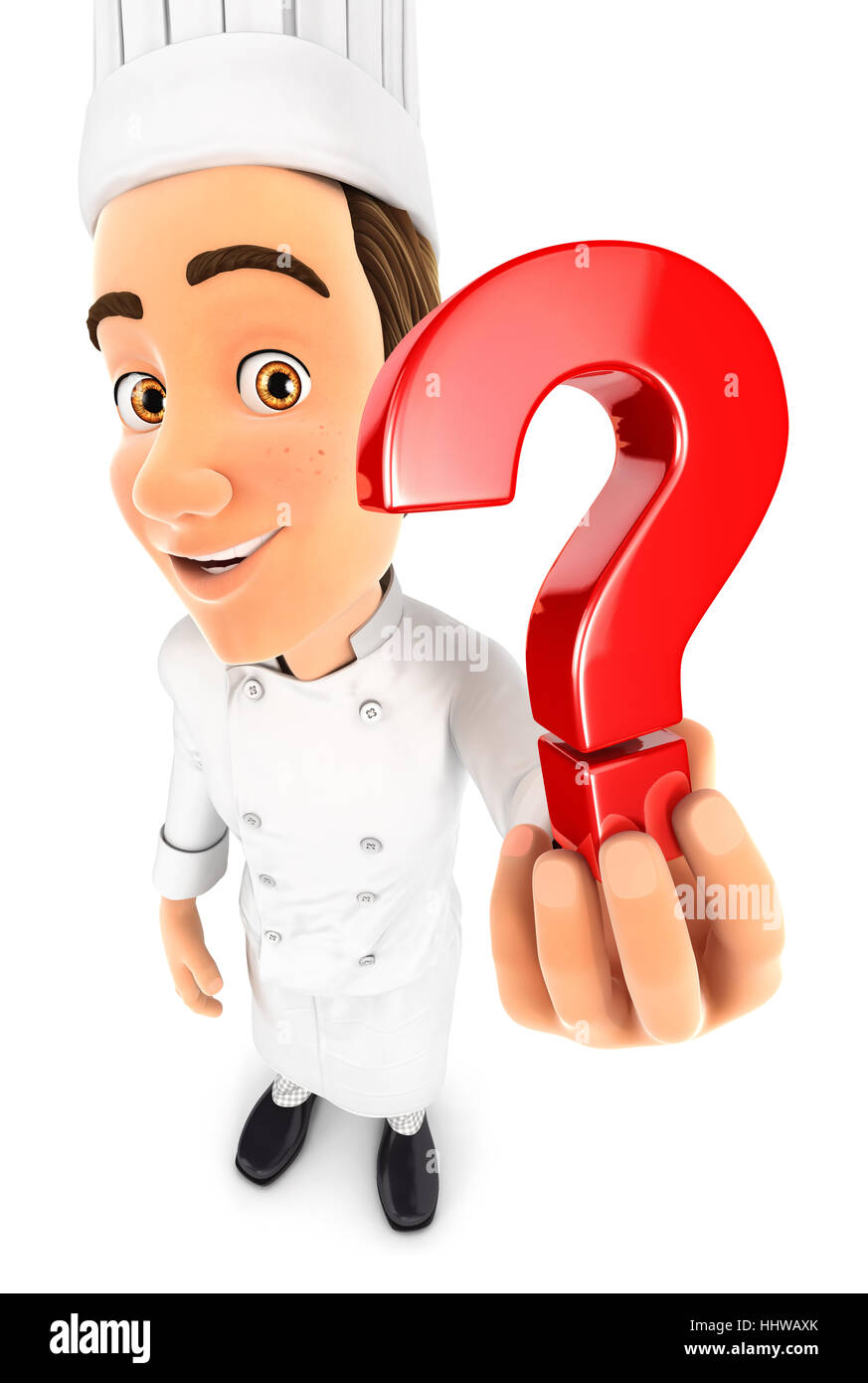 3d head chef holding a question mark icon, illustration with isolated white background Stock Photo
