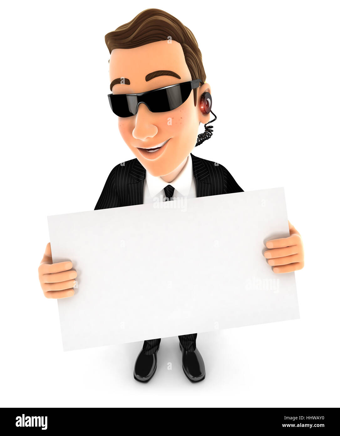 3d security agent holding a billboard, illustration with isolated white background Stock Photo