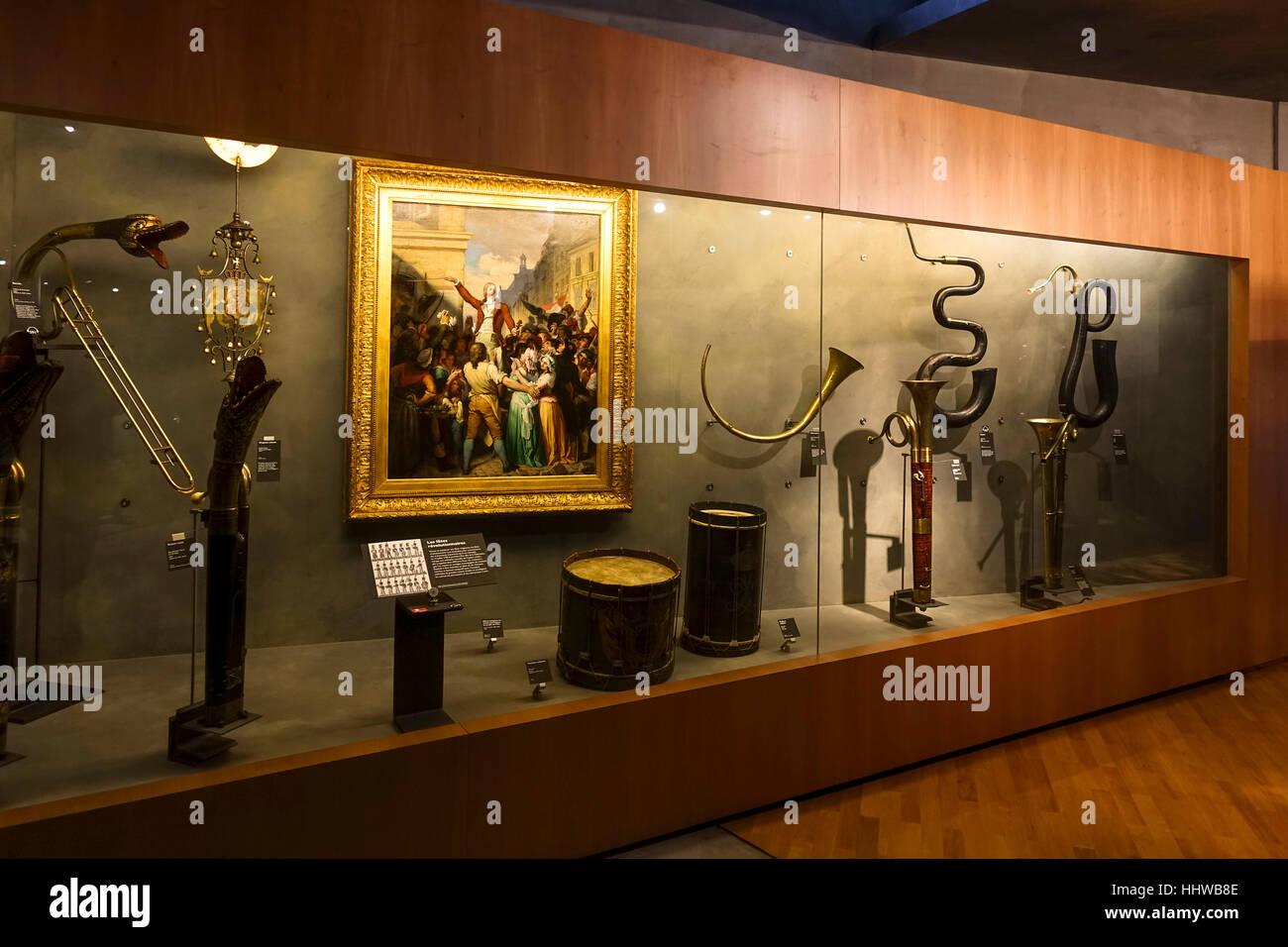 Classical musical instruments at Musee de la musique, Cité de la Musique , Parc de la Villette, Philharmonie - Stock Image