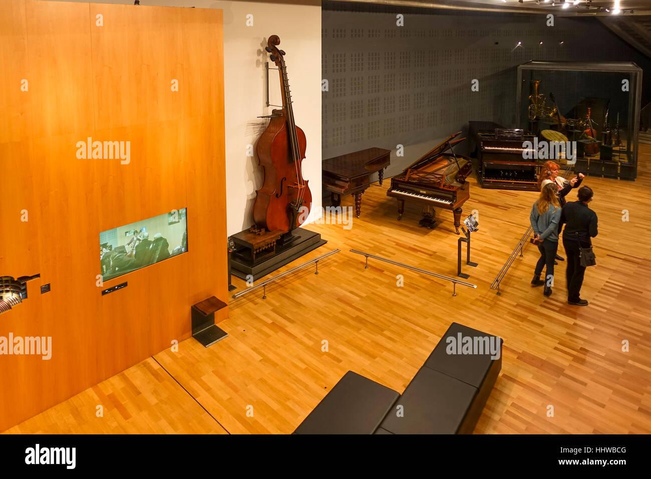 Interior musée de la cite, museum, Cite de la musique, Paris, France. - Stock Image