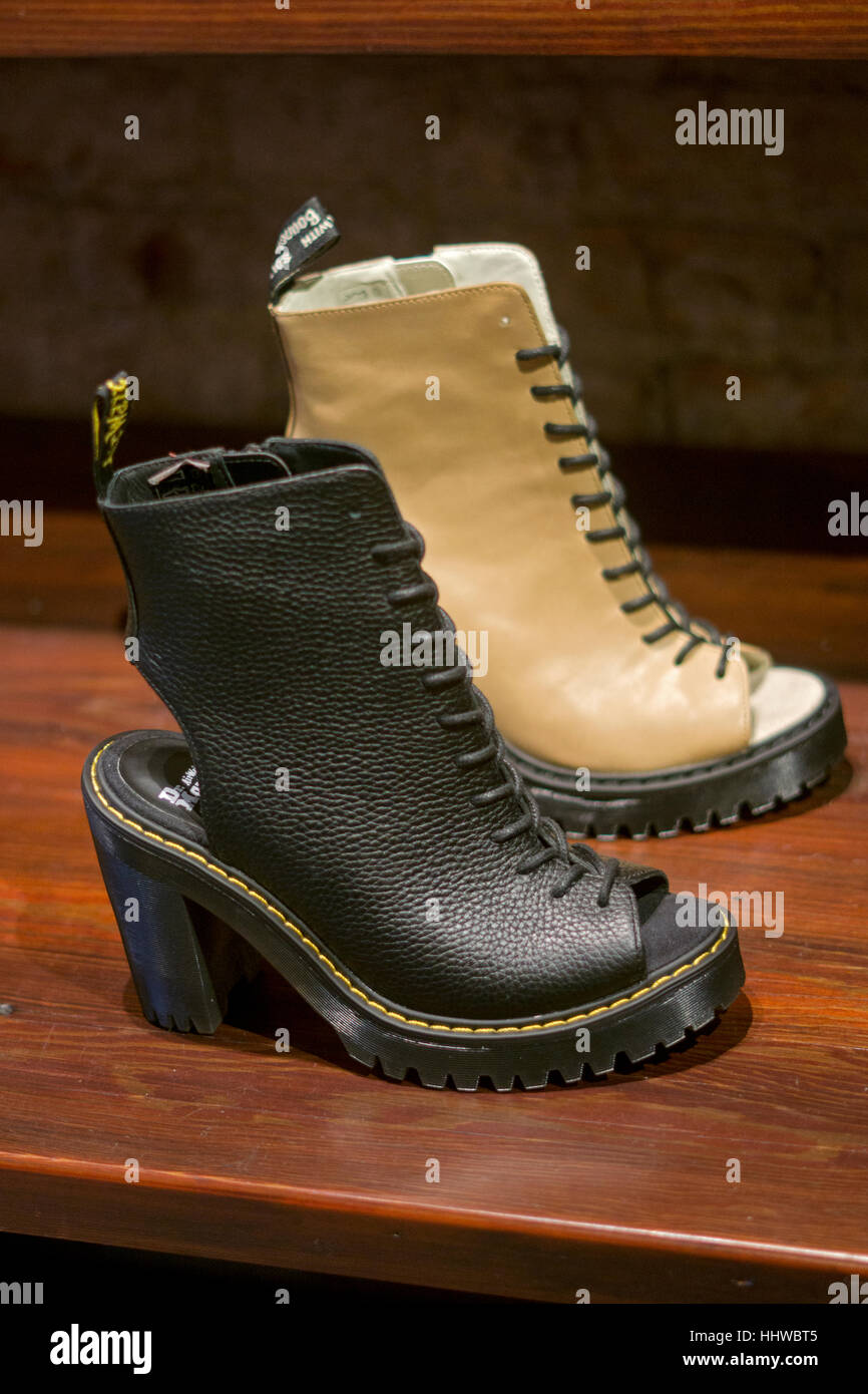 Dr. Martens Carmelita model shoes selling for $140 at their franchise store in Soho section of Manhattan on Spring - Stock Image