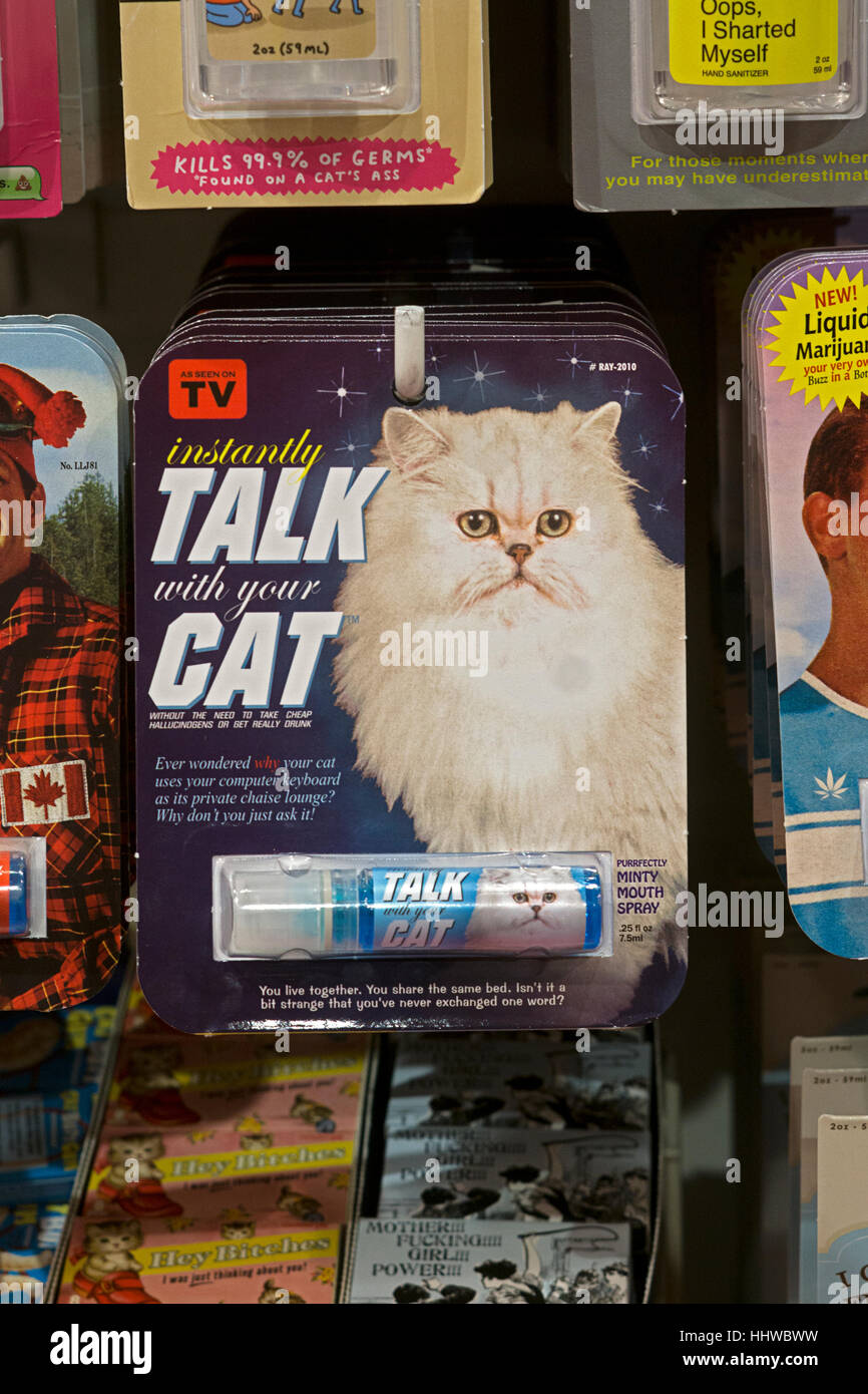 Funny gag gift breath spray for sale at It'sugar on Broadway in Greenwich Village, New York City. - Stock Image