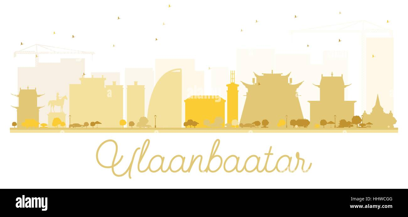 Ulaanbaatar City skyline golden silhouette. Vector illustration. Simple flat concept for tourism presentation, banner, - Stock Vector