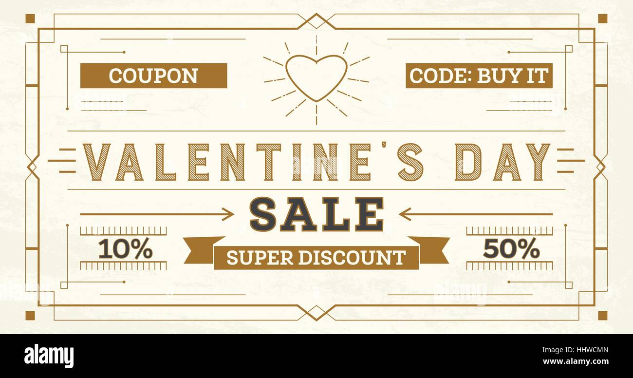 Valentine\'s Day Sale Retro Background. Coupon Template with Rays ...