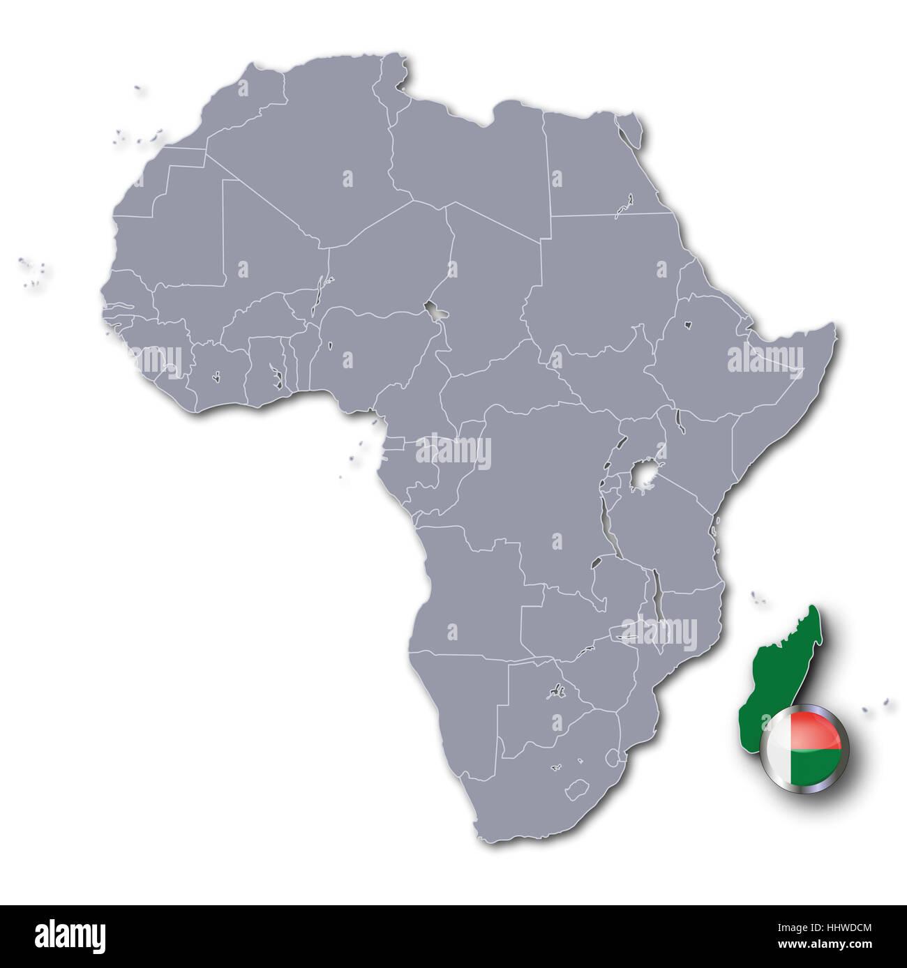 African Map Of Madagascar Stock Photo 131481076 Alamy