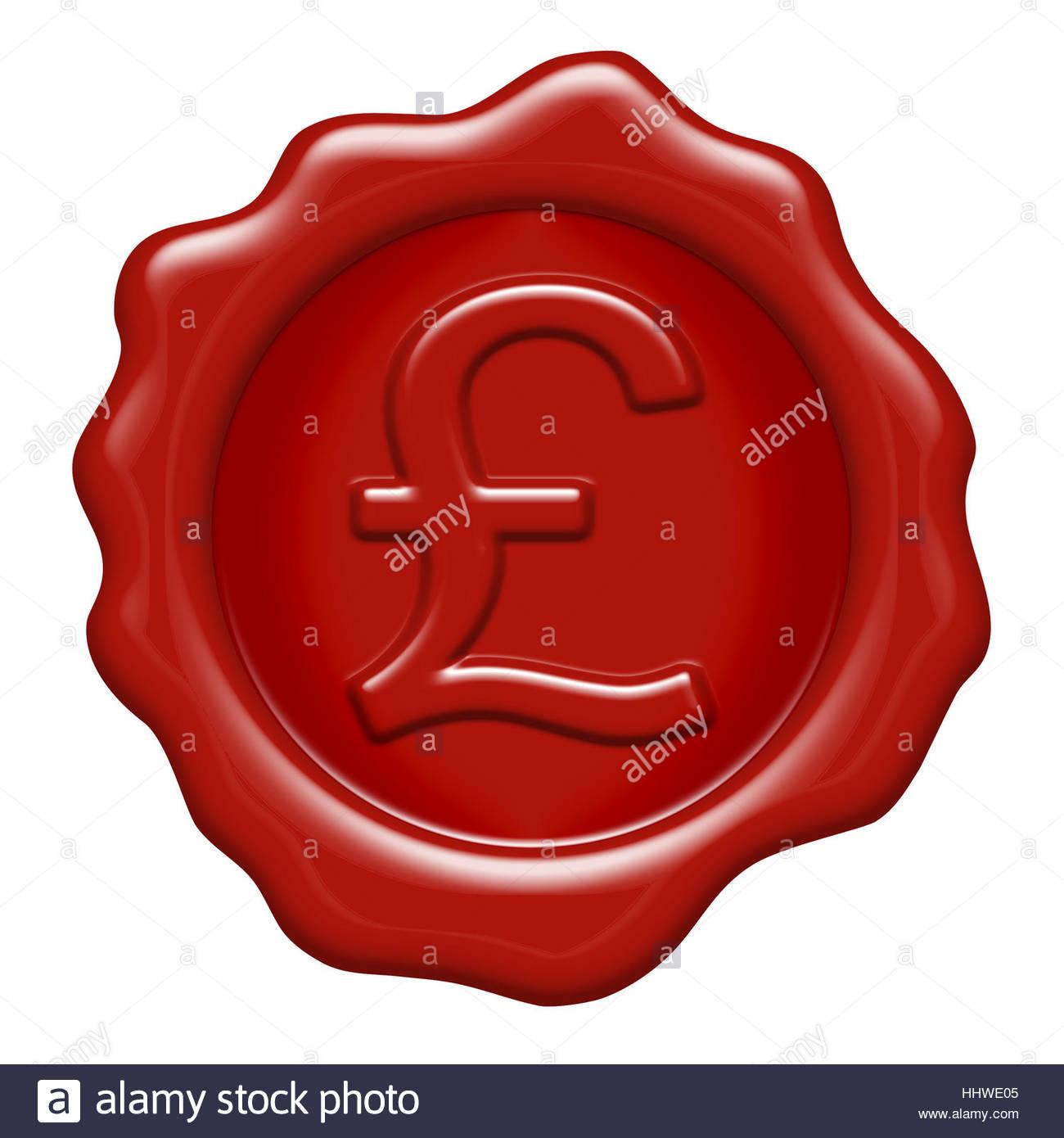 British Pound Symbol As A Wax Seal Stock Photo 131481509 Alamy