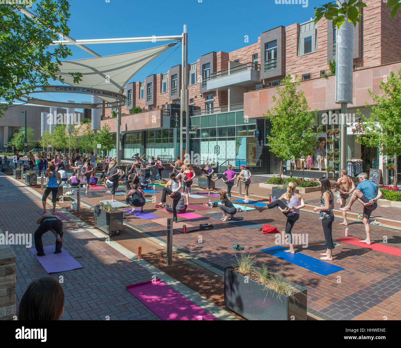 Outdoor Yoga Class, Cherry Creek North. Denver. Colorado