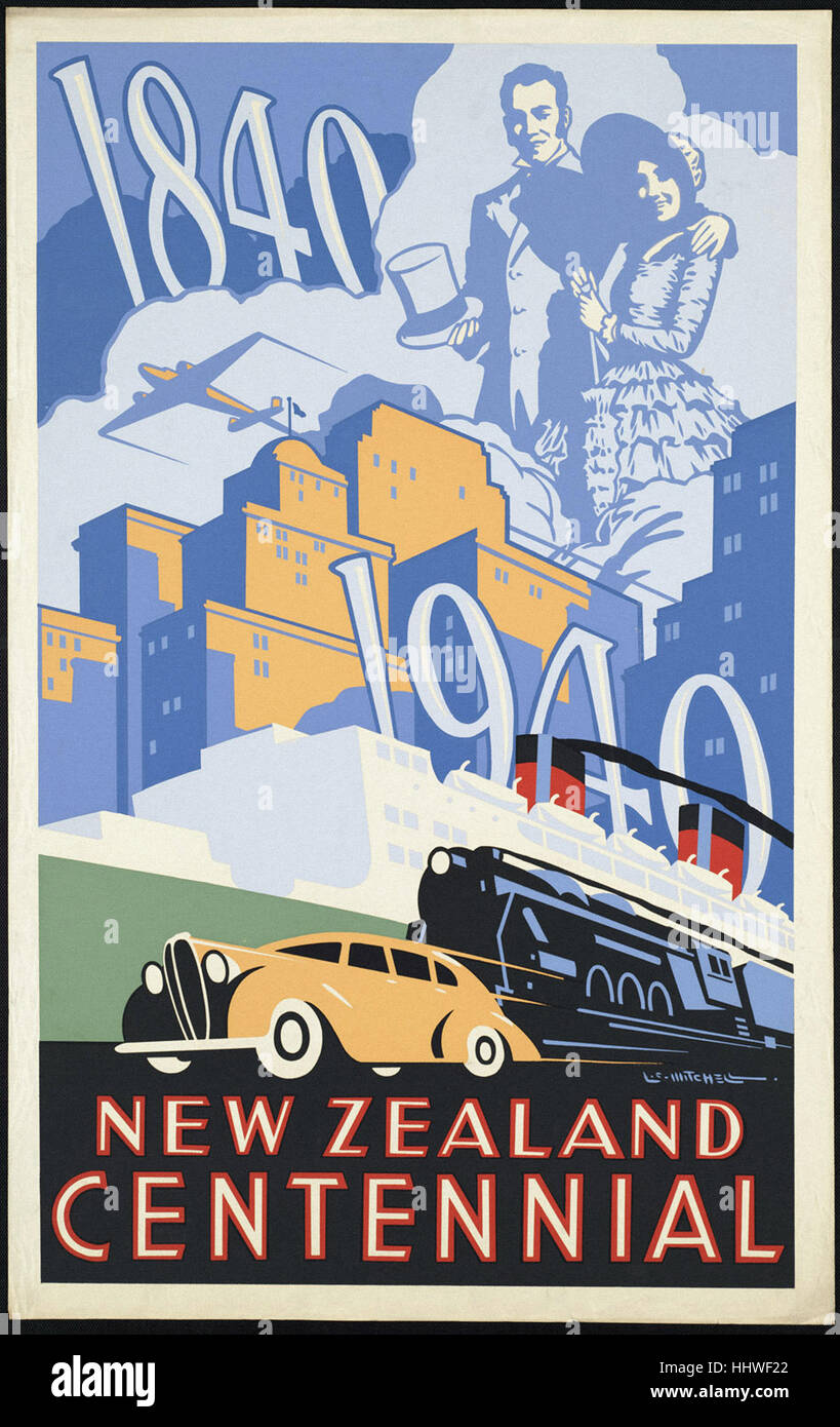 Exhibition Trips in February Classic Vintage New Zealand Travel Poster 1940