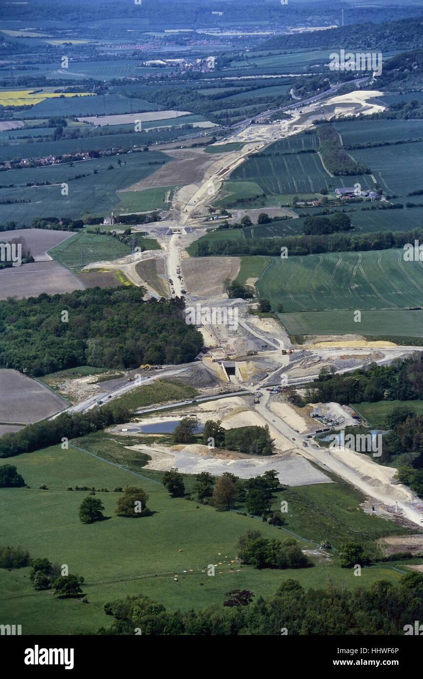 Construction in progress of the Eurostar train line in Kent. England. UK. Circa 1990's - Stock Image