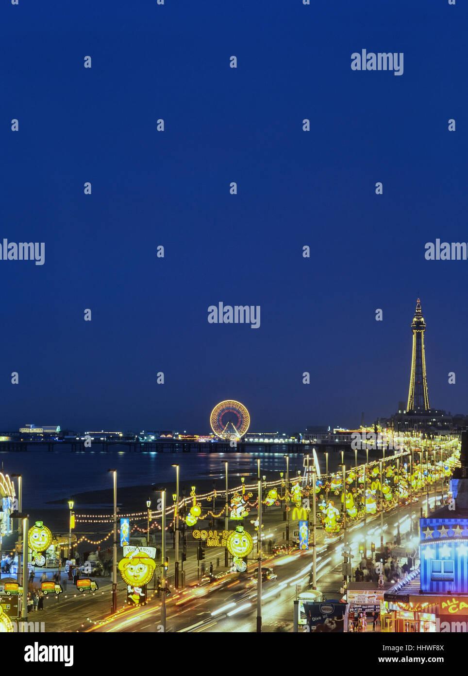 Blackpool's golden mile at night. Lancashire. England. UK - Stock Image