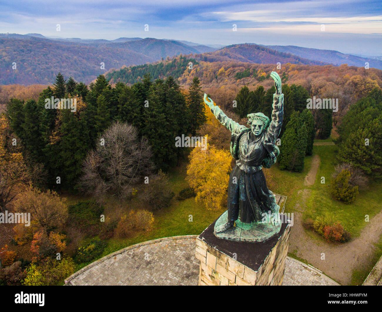 Liberty monument on Iriski venac on mountain Fruska Gora in Serbia - Stock Image