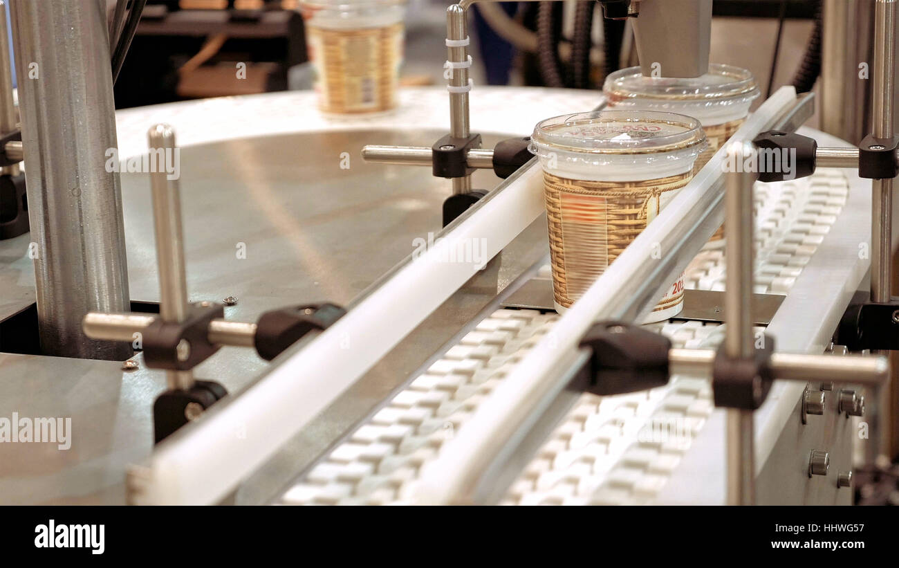 Conveyor product line conveyer belt - Stock Image