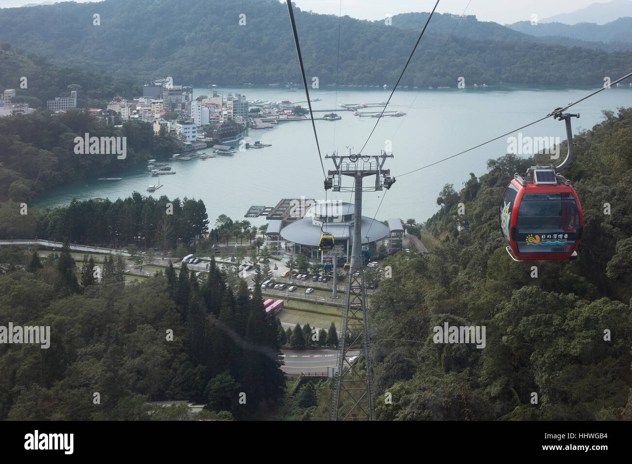 Taiwan, Sun Moon lake, Ita Thao from cable car - Stock Image