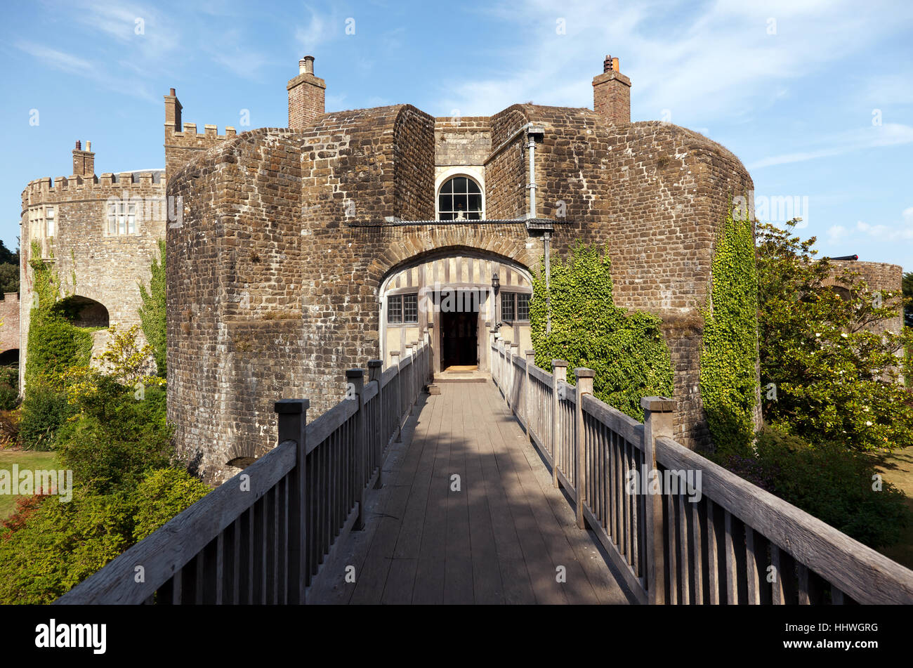 Rear view of Walmer Castle with the   wooden bridge over the mote. - Stock Image