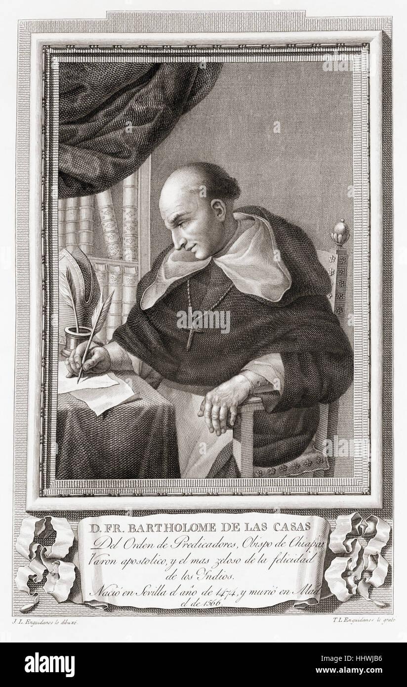 Bartolomé de las Casas, c. 1484 -1566. 16th-century Spanish historian, social reformer and Dominican friar. - Stock Image