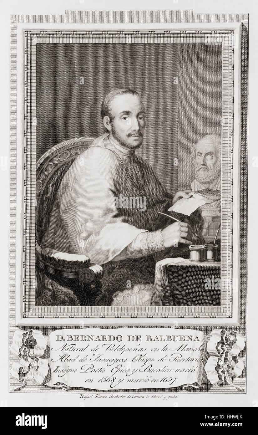 Bernardo de Balbuena, 1561 – 1627.  Spanish poet.  After an etching in Retratos de Los Españoles Ilustres, - Stock Image