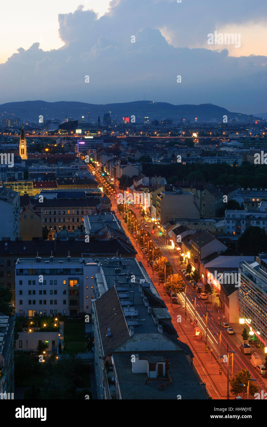 Wien, Vienna: View from highrise in Simmering to the city center, 00., Wien, Austria - Stock Image